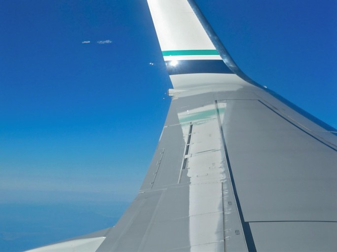 From my seat on the plane. Yes, we got stuck by the wing on my FIRST plane ride. Dang. #no-view